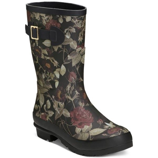 Aerosoles Rain Date Rain Boots ($79) ❤ liked on Polyvore featuring shoes, boots, black floral, wellington boots, floral print rain boots, aerosoles, floral print shoes and rain boots