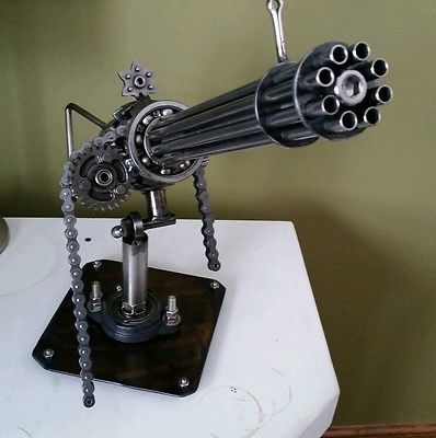 Awesome Scrap Metalart mini gun sculpture with movable turret