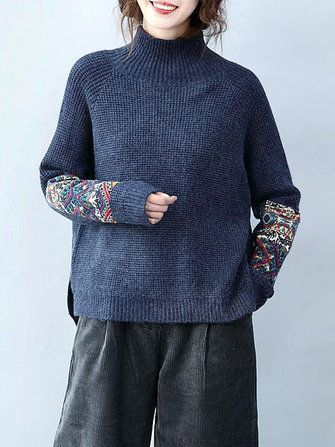 Women Long Sleeve Turtleneck Tribal Printed Patchwork Knitted Sweater at Banggood  идея для пуловера