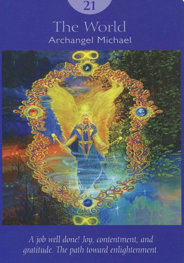 21 The World - Archangel Michael, Deck: Angel Tarot Cards,  by Doreen Virtue and Radleigh Valentine.  Artwork by Steve A. Roberts