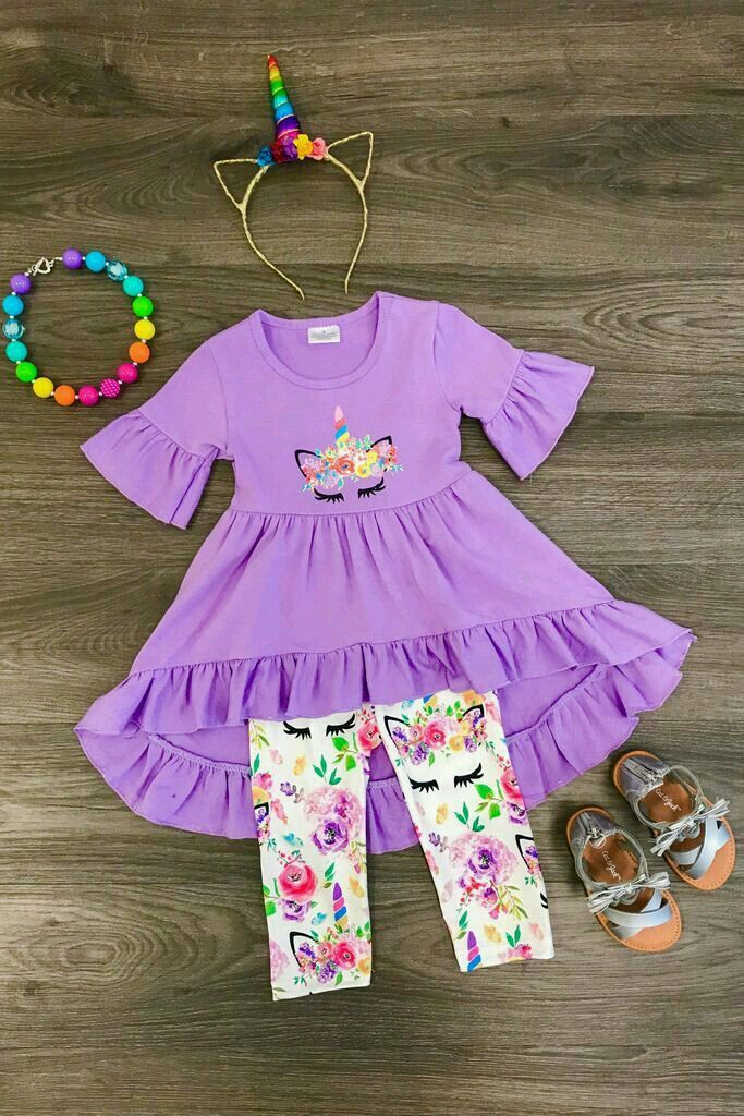 NEW Boutique Girls Purple Striped Floral Ruffle Tunic Dress Leggings Outfit Set