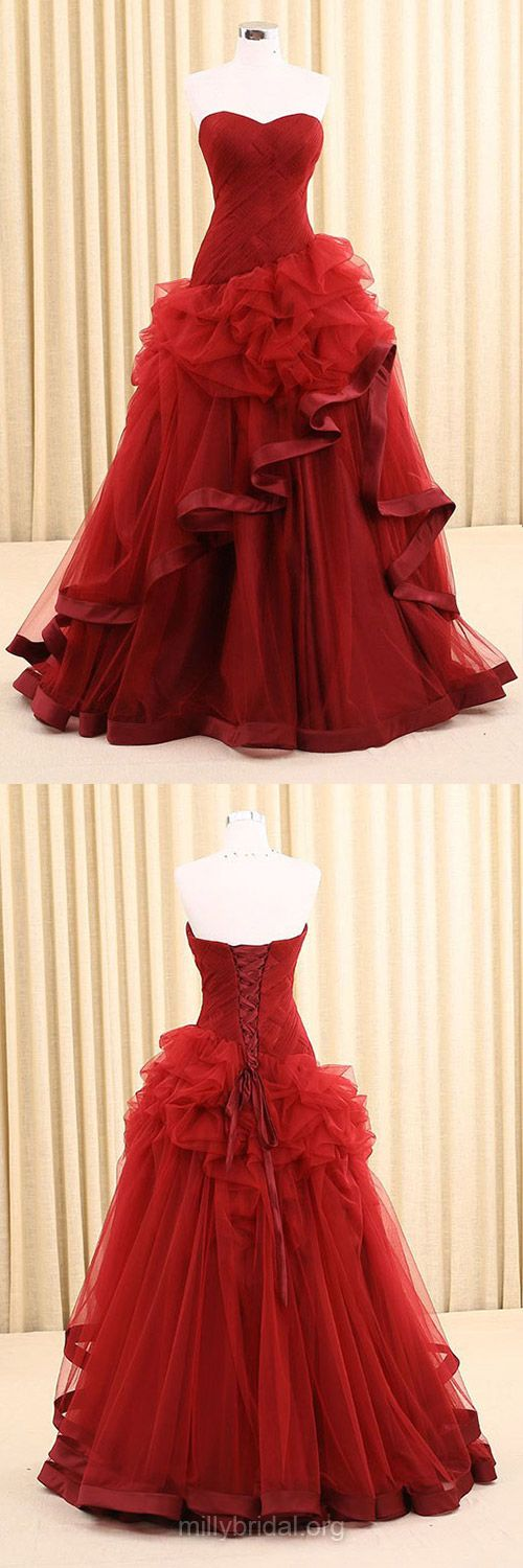 Princess Prom Dresses Sweetheart, Red Prom Dresses Long, Vintage Prom Dresses Tulle Ruffles