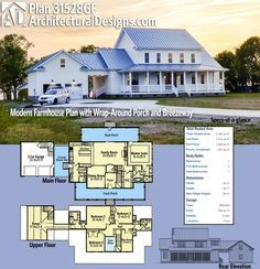 Architectural Designs Modern Farmhouse Plan 31528GF gives you 4 beds and over 3,100 square feet of heated living space PLUS a great wraparound porch, covered breezeway and a rear porch. Ready when you are. Where do YOU want to build?