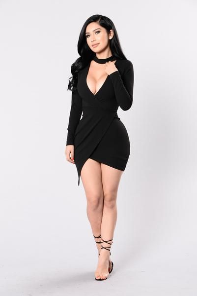 - Available in Black and Auburn - Long Sleeve Dresses - Surplice - Choker - Made in USA - 97% Polyester 3% Spandex
