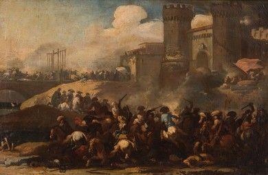 Marzio Masturzio - Blindarte shop. Painting. XVII century. Battle. Castel. Horses. Artfair. Antiquariato. Old master Painting.