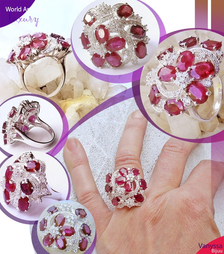 Dark Raspberry Red Ruby and White Sapphire Sterling Ring