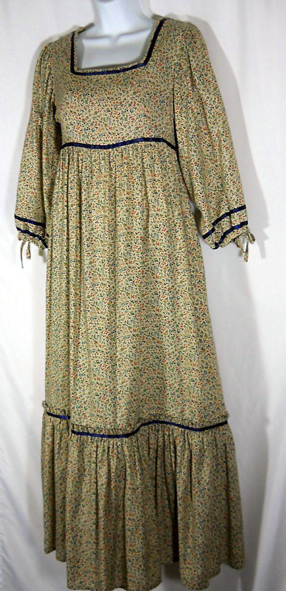 vintage prairie style maxi dress custome made calico