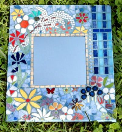 MIROIR MOSAIQUE BLEU  creation personnelle