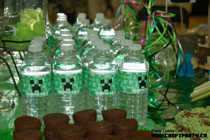 Creepers on drink bottles (one of the decorative/snack items in Genius Owl Minecraft Parties in Richmond Hill, ON)