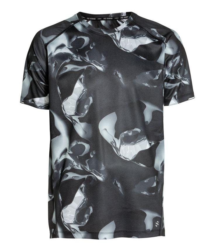 Hardloopshirt met korte mouwen | Zwart/wit dessin | Heren | H&M NL