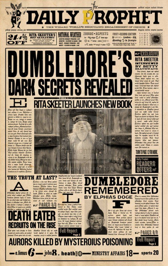 Harrypotter The Daily Prophet Newspaper Scan Harry