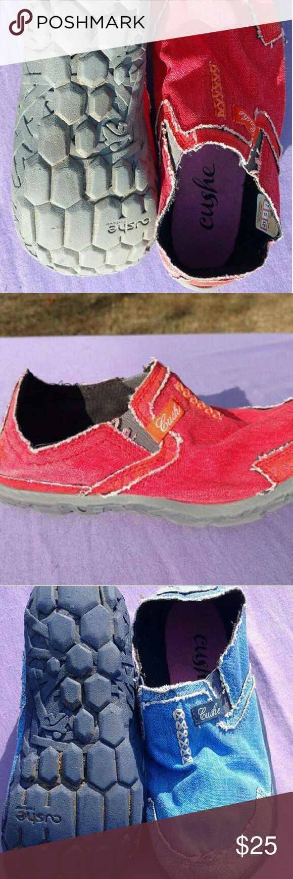 Cushe Slip-On Shoes Women's Size 7 Lot of 2 Pair Here are 2 pair of Cushe Slip-On Shoes: 1 Red Pair, 1 Blue Pair. Both are in good condition and have been cleaned, due to the tread type all the dirt would not come off the blue pair. Cushe  Shoes Flats & Loafers