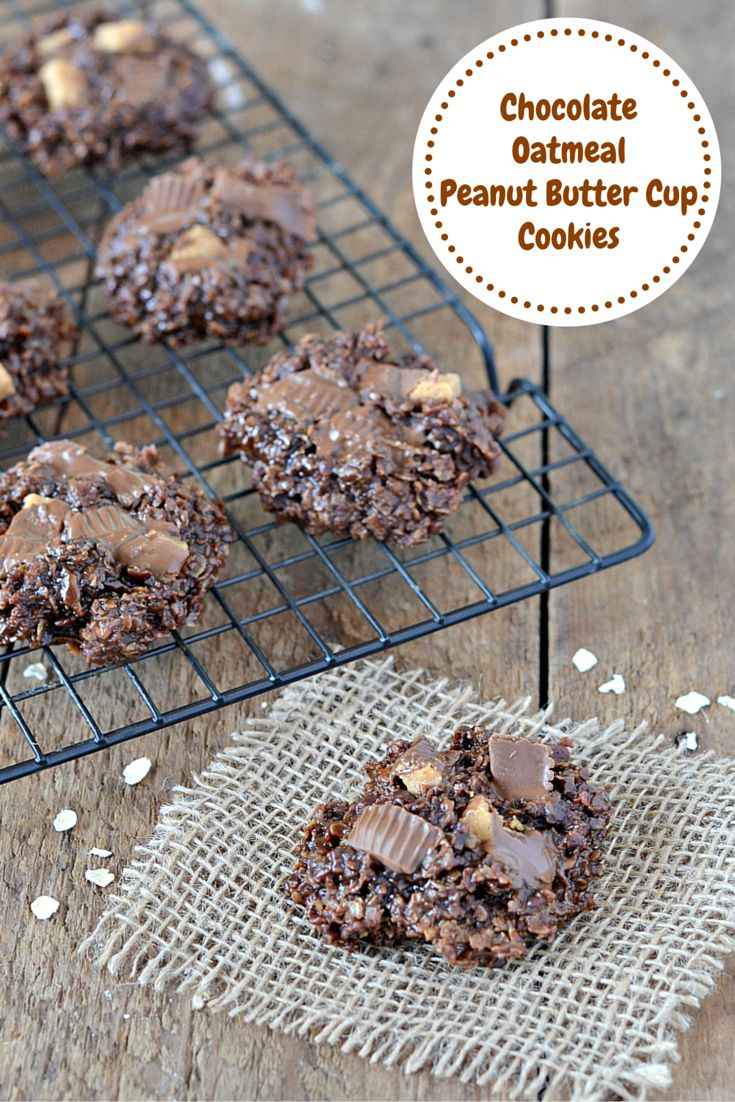 Moist chocolate oatmeal no-bake cookies are topped with crumbled peanut butter cup candy!