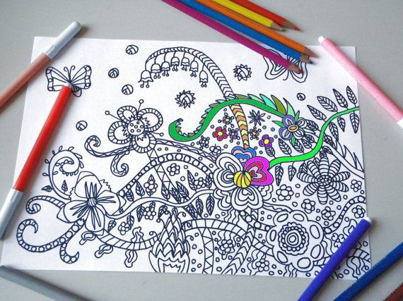 pagina da colorare per adulti fiori e farfalle zen meditazione stampare hippie stampabile instant download disegno digitale lasoffittadiste