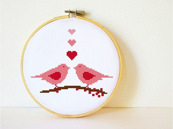 Multi-buy special: Get a 4th Pattern for FREE!! To order put 4 patterns in your cart and enter the code FreePattern at checkout. Your total will be automatically adjusted. :)     Quick and easy - a sweet love birds cross stitch pattern to stitch for yourself or as a gift. This pattern looks gorgeous in all colours and you can easily stitch it in the colour that has the most meaning for you (or the recipient :). You can also buy the pattern in the blue version here…