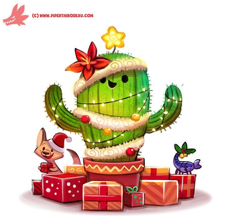 Daily Paint #1128. Christmas Cactus, Piper Thibodeau on ArtStation at https://www.artstation.com/artwork/3bB1g