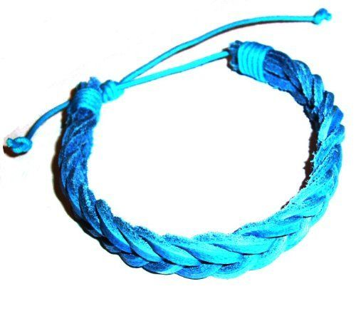 Aqua Leather Plaited Wristband / Surf Bracelet Tribe leather. $6.50. Shipping to the USA 3 to 6 days from England. Other colors available !