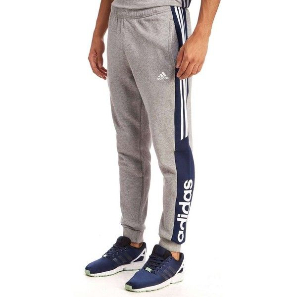 adidas Linear Fleece Jogging Pants ($53) ❤ liked on Polyvore featuring men's fashion, men's clothing, men's activewear, men's activewear pants, mens activewear pants and mens activewear