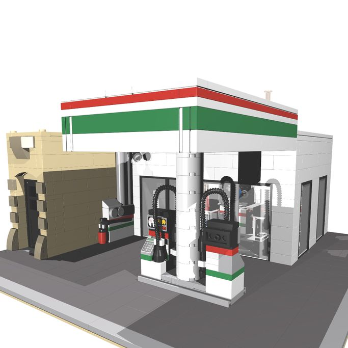 LEGO MOC MOC-5852 Corner Service Station - building instructions and parts list.