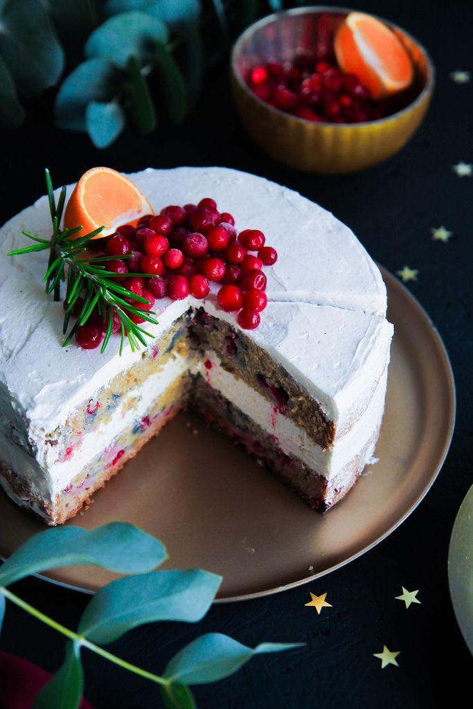 Gâteau de Noël aux airelles et clémentines {sans gluten - sans lait}