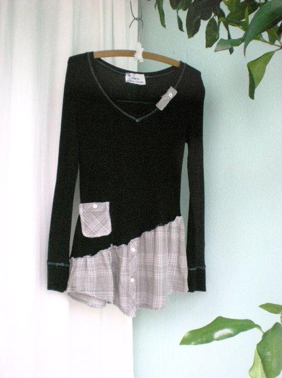 Medium Asymmetrical Hemline Shabby Chic altered Dress Upcycled Clothing  Lose the embellishments and I'd wear it.