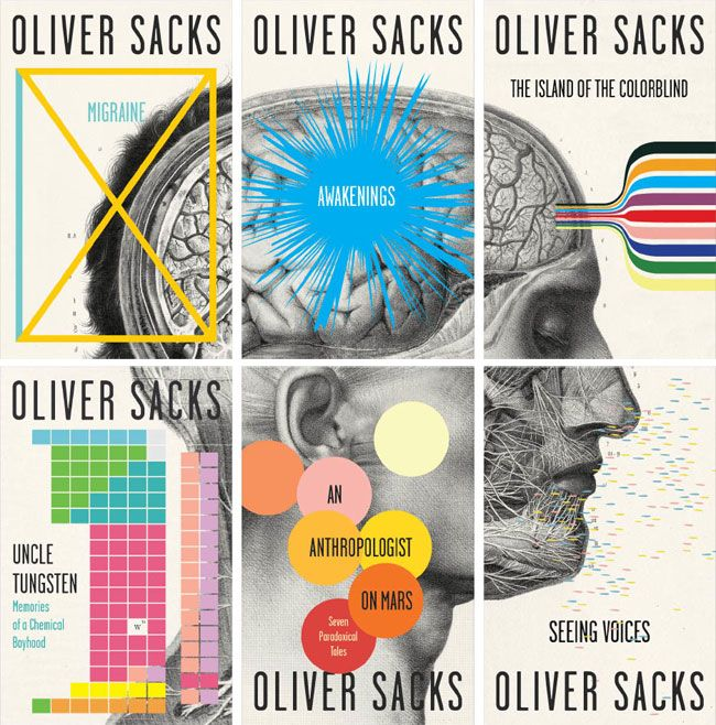 """Designing Book Covers: The advantage of designing covers for a series/collection of books is that you can approach it like so…"""" Designed by New-York based Cardon Webb for Oliver Sacks. Via Design Milk."""