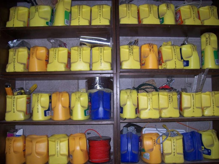 empty laundry detergent bottles. The sturdy handle and solid construction makes an ideal storage container!