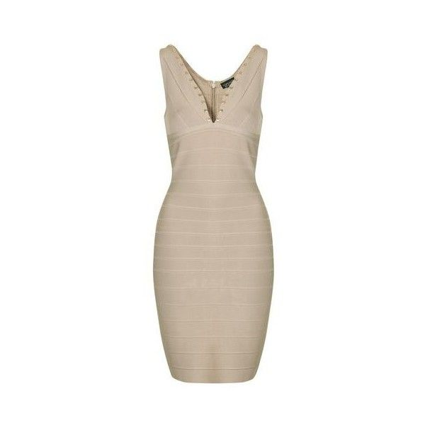 TopShop Studded Contouring Bandage Dress ($145) ❤ liked on Polyvore featuring dresses, nude, night out dresses, pink bandage dress, v neck dress, bodycon dress and pink bodycon dress