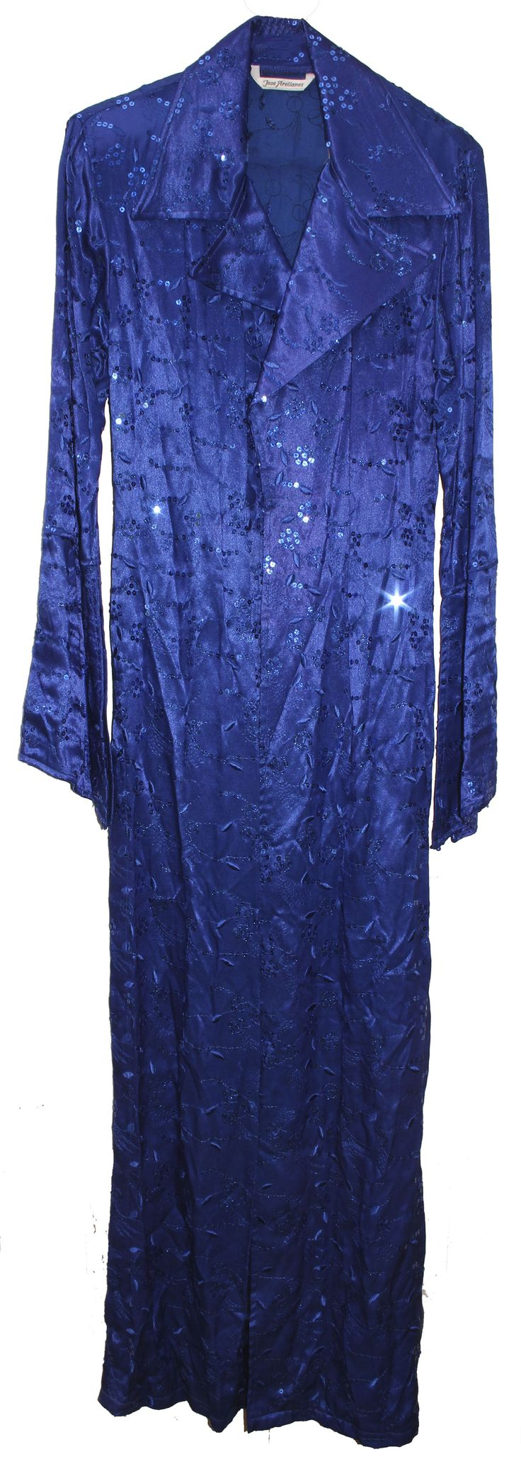 Electric blue sequined stage jacket personally worn by Prince. Designed by Jose Arellanes, the lo