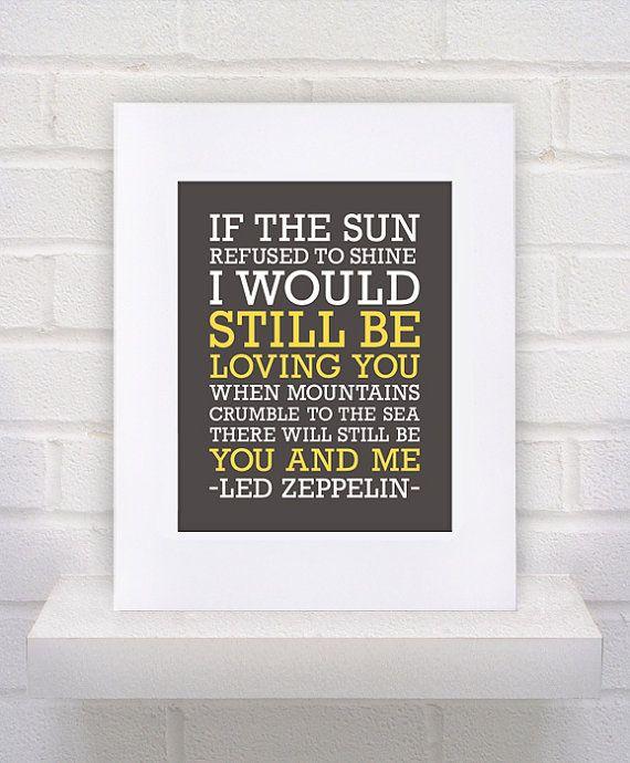 Led Zeppelin Lyrics - Thank You - 11x14 - poster print on Etsy, $10.00