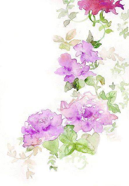 Watercolour - Purple flowers