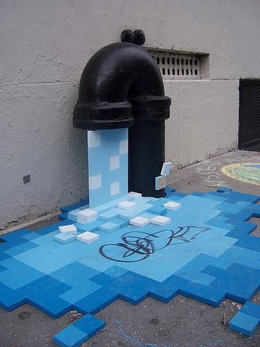 """eu achei esta imagem bastante interesante ,a forma que a boca de incendio e usada é mesmo """"intervida"""" pela a água e a forma da água é brutal esta ideia é muito boa a meu ver ."""