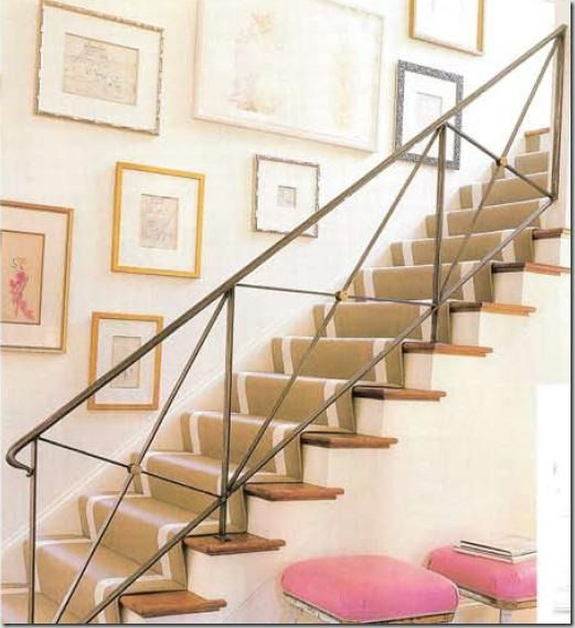 Gorgeous iron stair railing and runner in Suzanne Kasler's former home