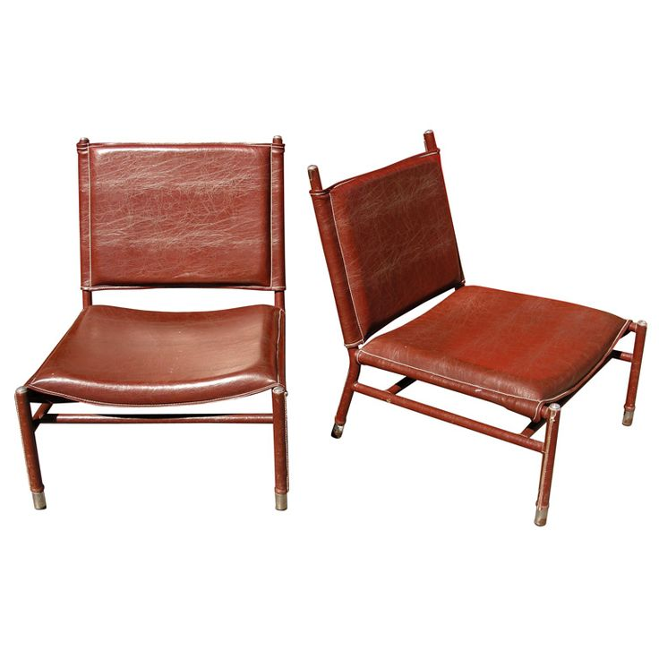 Jacques Quinet - Two 1950s Armchairs by Jacques Quinet Low  #chair #leatherchair