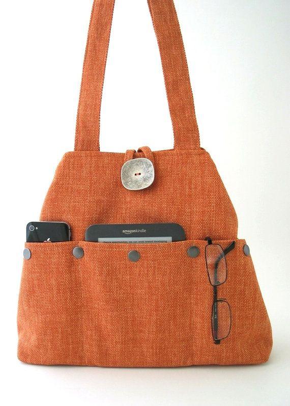 everyday bag Orange tote bag or hobo shoulder purse by daphnenen