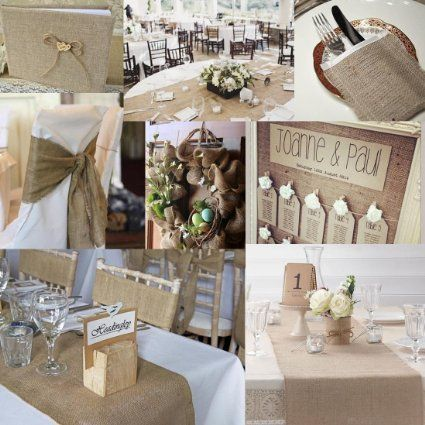 blanc bord d coup en toile de jute table de mariage. Black Bedroom Furniture Sets. Home Design Ideas