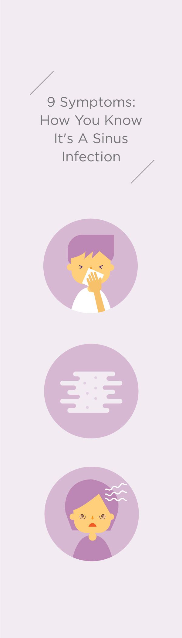 Know how to detect a sinus infection with using this easy to use guide. Know what to look for in the pain, discharge, and congestion levels as well as other key symptoms of a sinus infection. Save this pin for when you're under the weather!