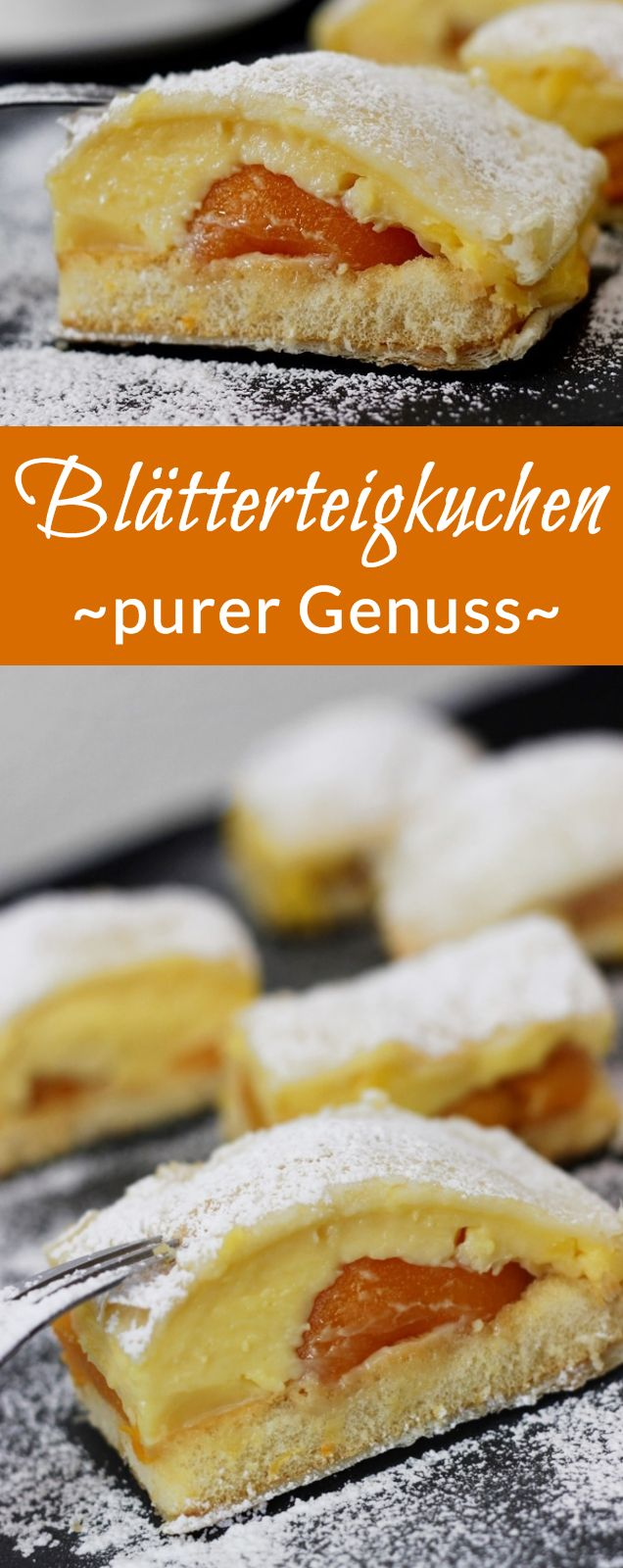Rezept: Blätterteigkuchen mit Vanillepudding, Biskuit und Pfirsischen| #rezept #blätterteig #kuchen