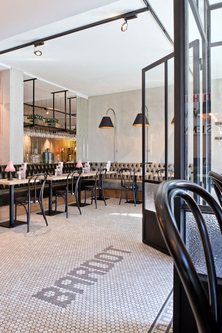 Brasserie Bardot Restaurant// Love the tufted seating and floor tiles//