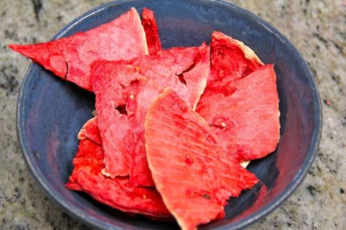 """Watermelon Chips. """"Ever considered dehydrating watermelon? The result is crazy-sweet, with the consistency of taffy."""""""