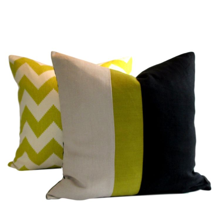 Instantly update your decor with our contemporary linen Black Chartreuse Natural Colour Block Pillow Cover
