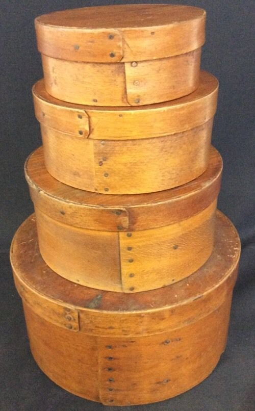 Vintage Primitives Nesting Shaker Box Cheesebox Pantry Box Set of 4 W/ Lids B143