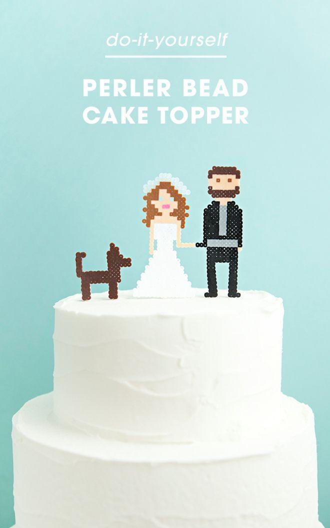 cake topper wedding perles hama repasser beads
