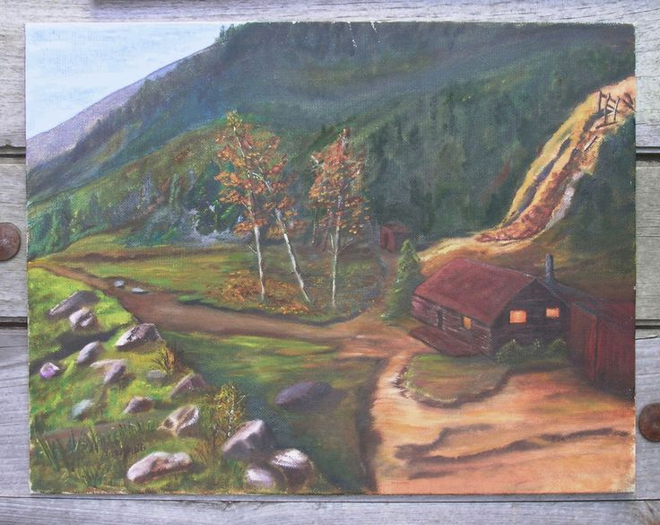 Original PRIMITIVE Painting FOLK ART Cabin Woods Aspens Mine - Female Artist #Primitive
