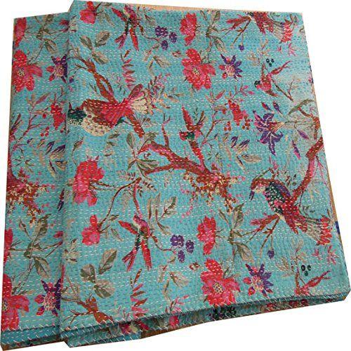 Handicrunch Sari Indische Steppdecke -Kantha Quilt Steppdecken, Plaids, ralli, Gudari Handmade Tapestery Reversible Bettwäsche: Amazon.de: Küche & Haushalt
