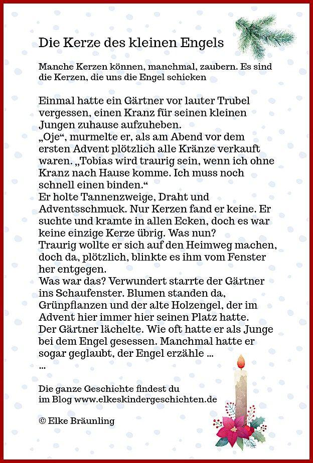 Die Kerze Des Kleinen Engels Elkes Kindergeschichten Geschichten Fur Kinder Kurze Weihnachtsgeschichte Weihnachten Geschichte