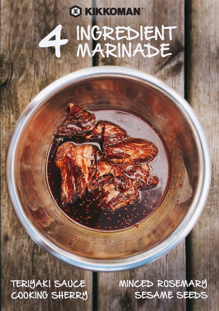 No honestly, it's THIS simple: 4 Ingredient Teriyaki Grilling Marinade, made with Kikkoman Teriyaki Marinade & Sauce, cooking sherry, minced rosemary, and sesame seeds. | Discover this and countless other recipes at KikkomanUSA.com