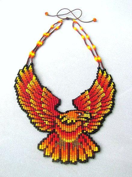 Seed Beaded Eagle Necklace Aguila de Fuego by HANWImedicineArt