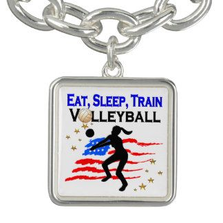 LIVING MY VOLLEYBALL DREAM DESIGN CHARM BRACELETS Calling all Volleyball players! Awesome Volleyball designs on Tees and Gifts. http://www.zazzle.com/mysportsstar/gifts?cg=196107884926703578&rf=238246180177746410  #Volleyball #VolleyballGirl #Beachvolleyball #Lovevolleyball