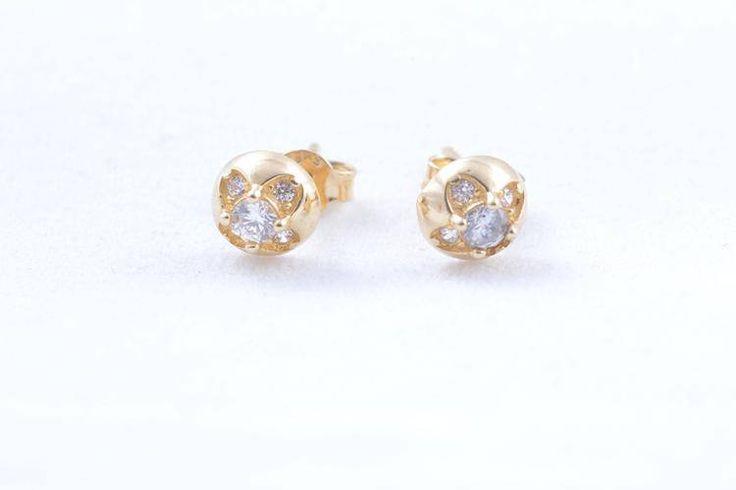Cercei aur cu surub bijuterii cadouri dama cu zirconii